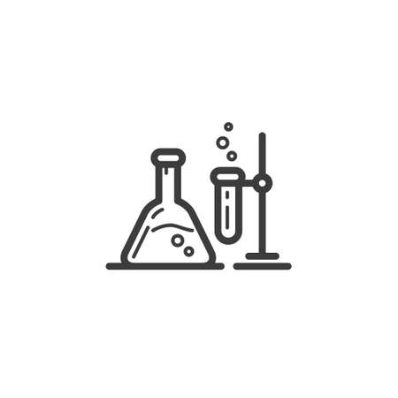 black and white simple vector line art outline icon of chemical beakers