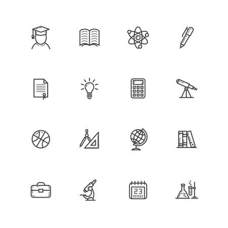 set of outline black and white simple vector line art icons on the theme of education Stock Illustratie