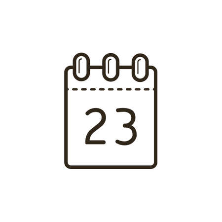 black and white line art icon of the tear-off calendar with number twenty-three on sheet