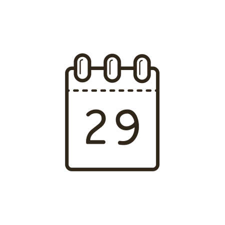 black and white line art icon of the tear-off calendar with number twenty-nine on sheet 矢量图像