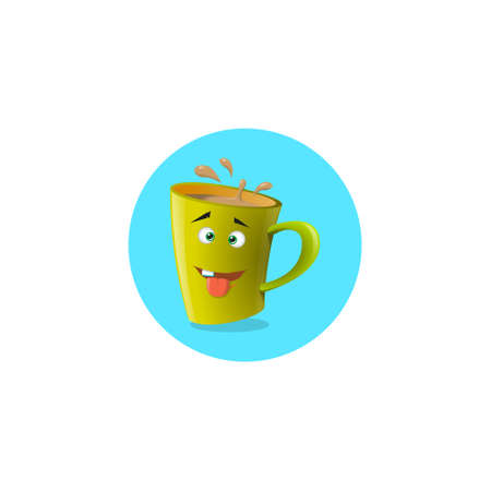 color round illustration yellow yellow cartoon mug that one tooth and showing tongue