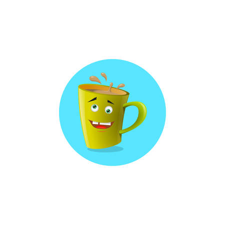 color round illustration yellow yellow cartoon mug that does not in itself Illusztráció