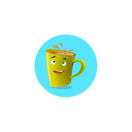 Color illustration of a yellow cartoon funny shy mug