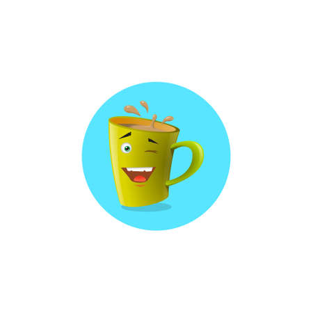 Color round illustration of yellow cartoon funny mug that playfully winks