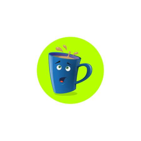 color illustration icon funny cartoon mug that surprised Ilustração