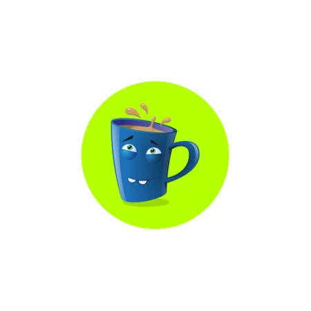 lustige Illustration des Farbillustrationsikonenbechers mit zwei Zähnen