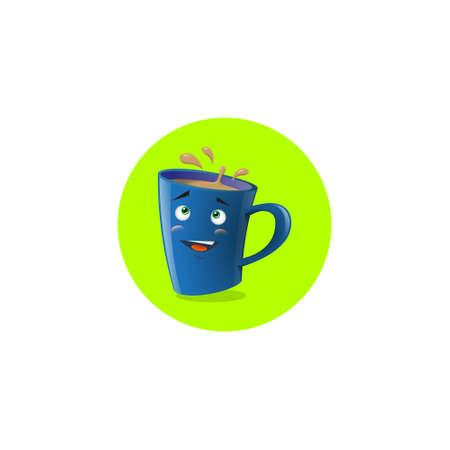 Color illustration of blue cartoon funny shy mug Illustration