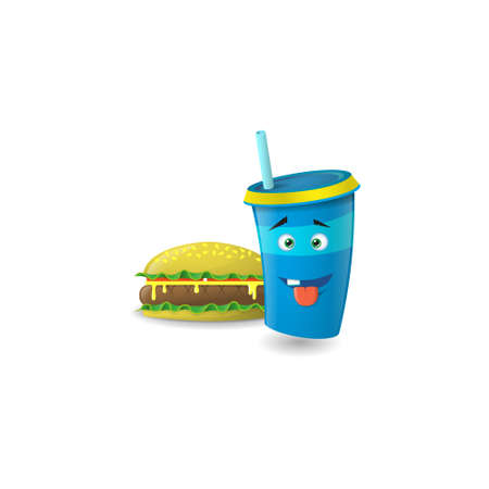 Color illustration of a blue cartoon paper cup with straws that one tooth and showing tongue with burger
