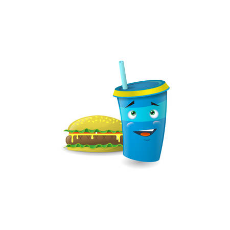 Color illustration of a blue cartoon funny shy paper cup with straws with a burger