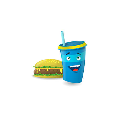 Color illustration of a blue cartoon happy paper cup with straws with burger