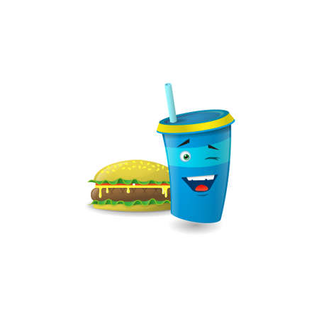 Color illustration of a blue cartoon paper with straws that playfully winks with a burger