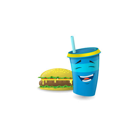 Color illustration of a blue cartoon paper with straws which laughs with a burger Ilustração