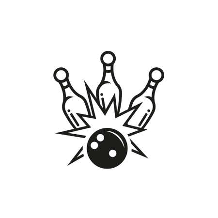 black and white simple outline vector icon for bowling