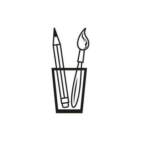 black and white simple outline vector icon of pencil and brush Illustration