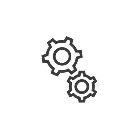 Black and white simple line art gear icon