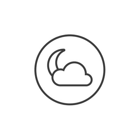Black and white line art moon icon with a cloud in a round frame 矢量图像