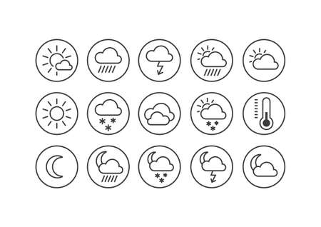 Set of black and white line art icons on the weather theme in the round frame