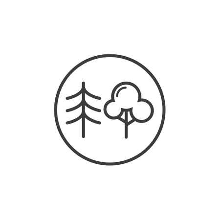 丸いフレームの黒と白の線画混合木の森のアイコン