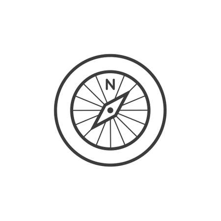 Black and white line art compass icon in the round frame