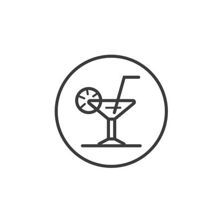 Black and white line art icon of cocktail in the round frame
