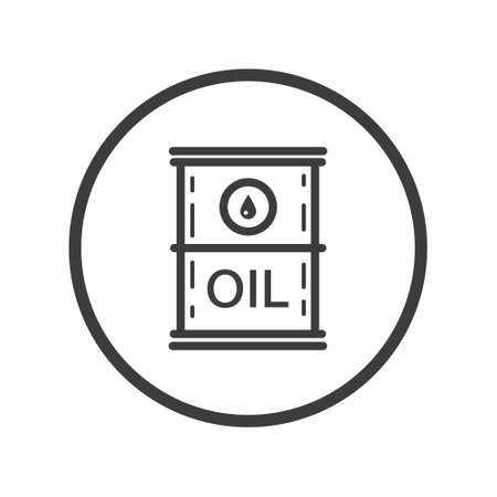 Black and white line art icon of oil barrel in the round frame