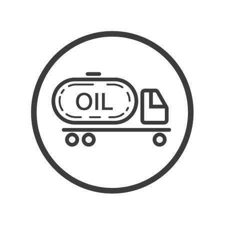 Black and white line art icon of truck with oil in the round frame
