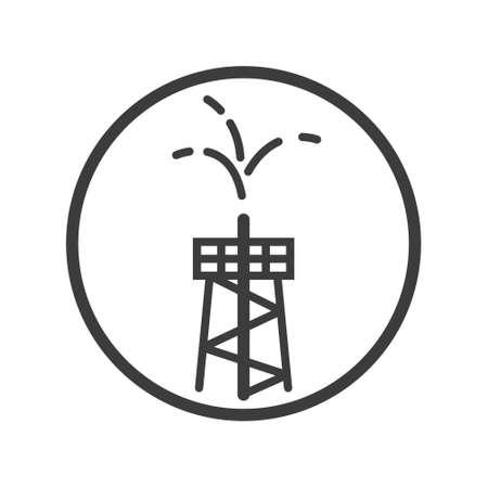 丸いフレームの中のオイルファウンテンタワーの黒と白のラインアートアイコン