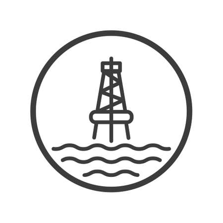 Black and white line art icon of the sea oil station in the round frame