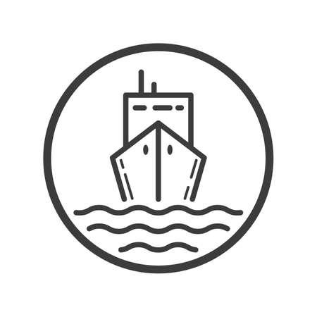 Black and white line art icon of tanker in the round frame Ilustração