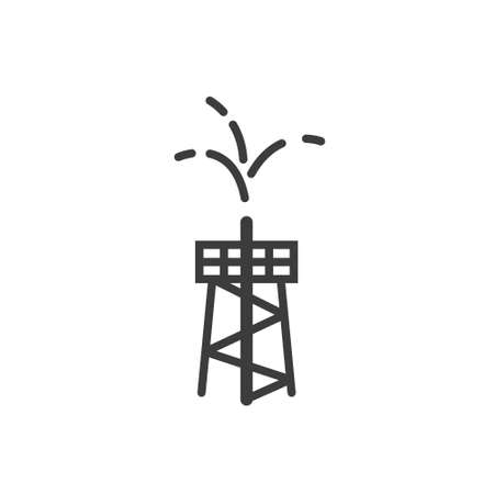 Black and white simple line art outline icon of oil fountain Illustration