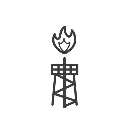 Black and white simple line art outline icon of a burning oil rig