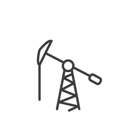 Black and white simple line art outline icon of oil tower Vettoriali