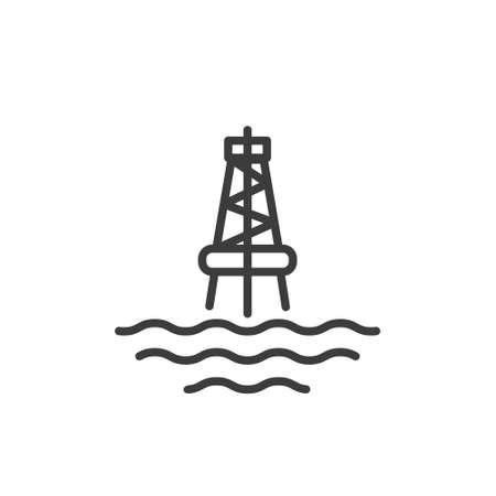 Black and white simple line art outline icon of the marine oil station Ilustração