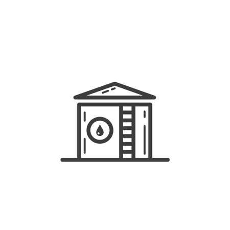Black and white simple line art outline icon of storage for fuel