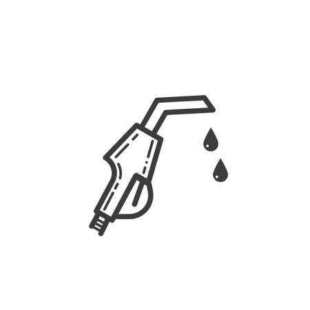 Black and white simple line art outline icon of gasoline pistol