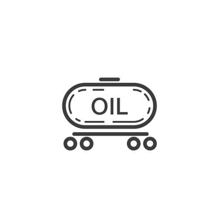 Black and white simple line art outline icon of train with oil Ilustração