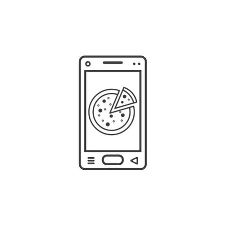 Black and white line art vector icon of smartphone with pizza on screen
