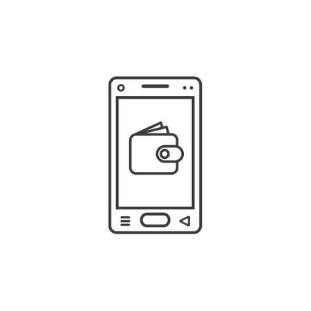 black and white line art icon of mobile phone with wallet sign