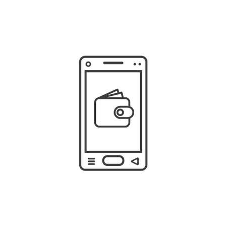 icono de arte de línea en blanco y negro de teléfono móvil con signo de billetera