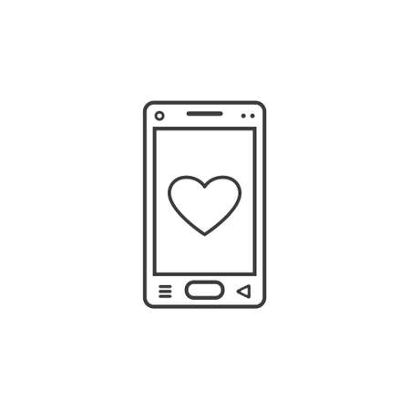 black and white line art icon of mobile phone with a heart sign