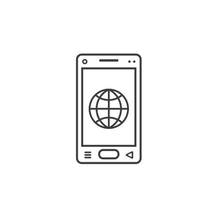 black and white line art icon of mobile phone with a sign of the globe browser