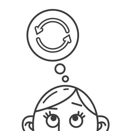illustration d'art en ligne noir et blanc d'une pensée de signe de flèches de renouvellement