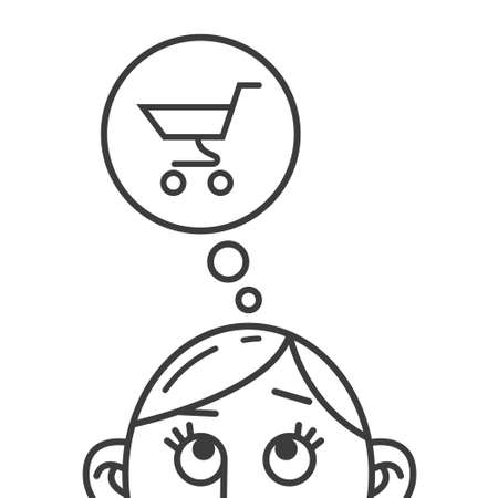 Colorless line art illustration of the thought of shopping trolley Illustration