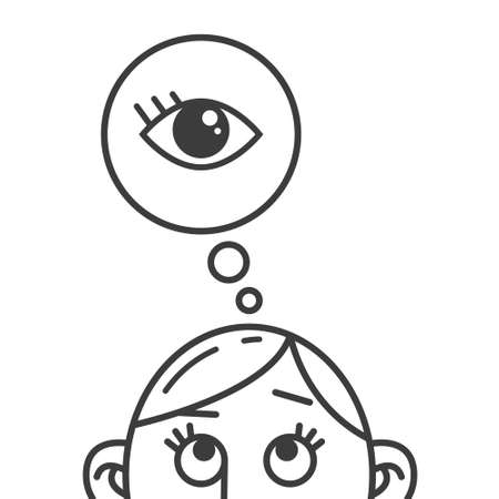 black and white line art illustration of the thought of the eye sign