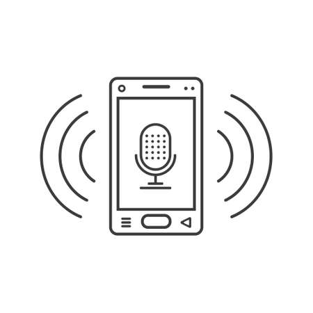 black and white line art ringing smartphone icon with microphone sign and wave waves