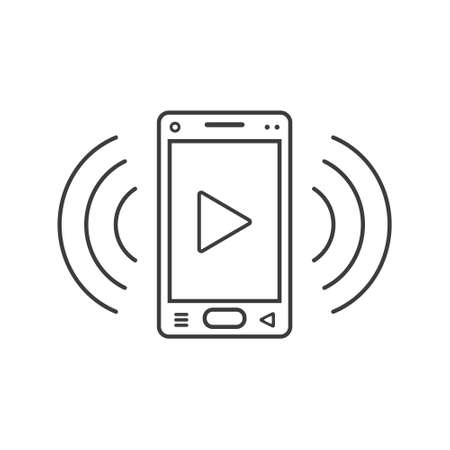 black and white line art ringing smartphone icon with player sign and wave waves