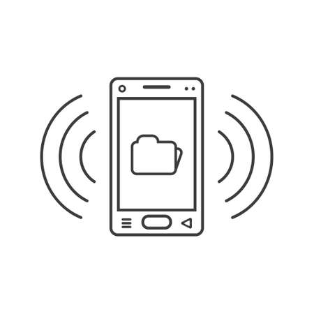 black and white line art ringing smartphone icon with folder sign and wave waves