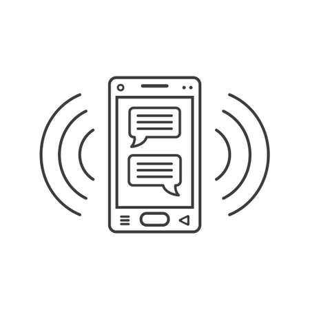 black and white line art ringing smartphone icon of chatting messages and wave waves Ilustração Vetorial