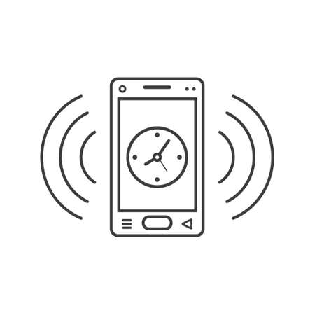 black and white line art ringing smartphone icon with a clock and wave waves