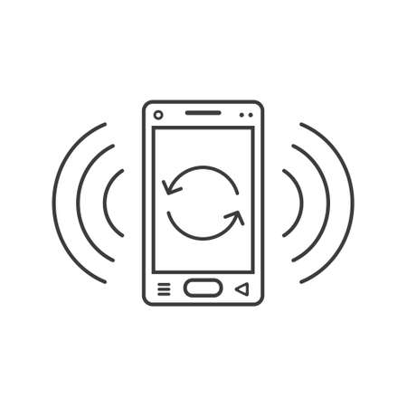 black and white line art ringing smartphone icon with upgrade sign and wave waves